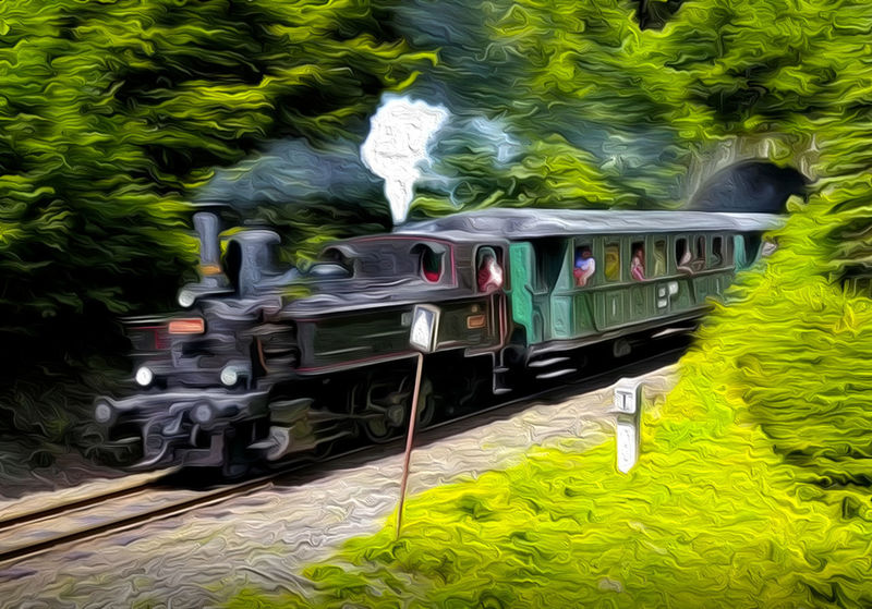 Car Day Green Color Growth Land Vehicle Mode Of Transportation Motor Vehicle Nature No People Outdoors Plant Public Transportation Rail Transportation Railroad Track Track Train Train - Vehicle Transportation Travel Tree