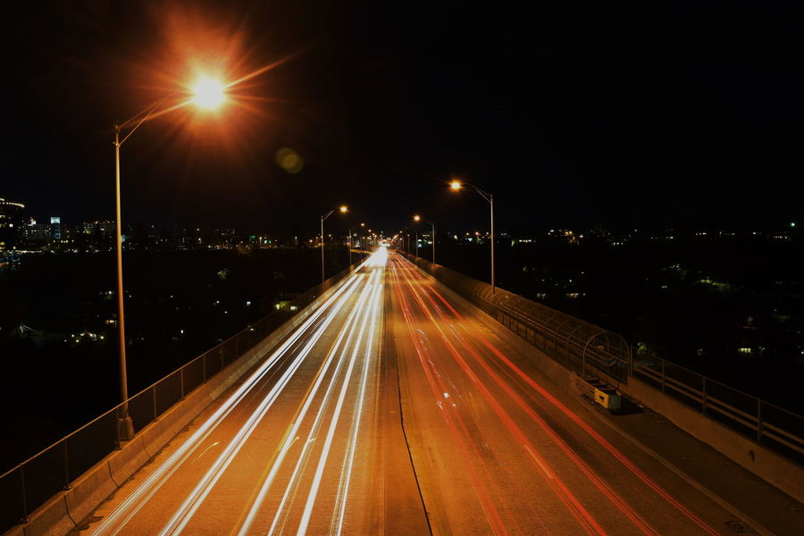 Night Motion Long Exposure Street Light Speed Light Trail Illuminated Transportation