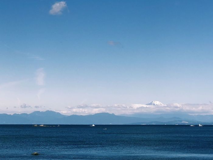 Beauty In Nature Blue Cloud - Sky Copy Space Day Fuji Idyllic Land Mountain Nature No People Non-urban Scene Outdoors Scenics - Nature Sea Sky Tranquil Scene Tranquility Water Waterfront