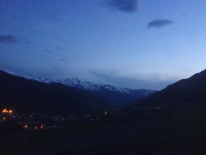 Night on the Mestia Mestia Svaneti Georgia Mountain Night Evening Evening Sky Sky Mountain Range Mountain Village Sunset Village Dark Blue Nature Valley