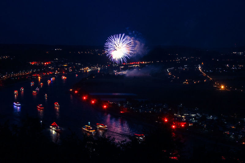 Rhein in Flammen Architecture Arts Culture And Entertainment Building Exterior Celebration City Cityscape Event Exploding Firework Firework - Man Made Object Firework Display Illuminated Long Exposure Motion Multi Colored Night No People Outdoors Sea Sky Water