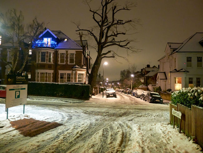 Architecture Bare Tree Building Exterior Built Structure Car City Cold Temperature House Illuminated Land Vehicle Nature Night No People North London Outdoors Park Queens Wood Residential Building Road Sky Snow Street Street Light Transportation Tree Weather Winter