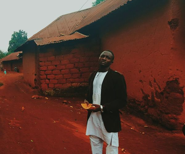 One Person Standing Adobe Mud Building Home Mambilla Plateau Color Photography Colour Of Life