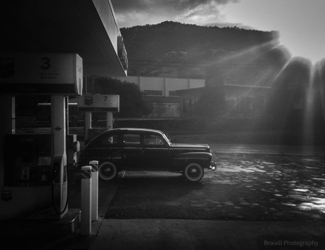 If I could turn back time Blackandwhite Mode Of Transportation Transportation Land Vehicle Motor Vehicle Car Built Structure Wet Architecture Stationary No People Building Exterior Night City Travel Motion Outdoors Rain Road