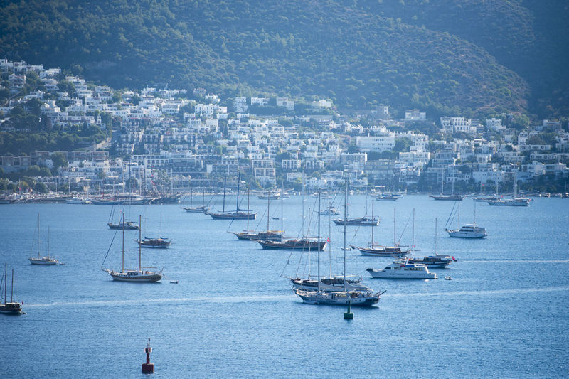 Bodrum Gulet Cityscape Day Gulet Boat Harbor Mist Nautical Vessel Outdoors Sailboat Sailing Sea Water