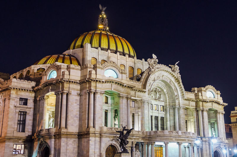Low angle view of palacio de bellas artes against clear sky