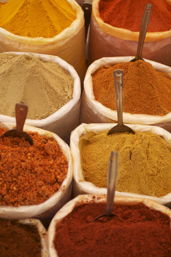 Variety Of Spices For Sale At Store
