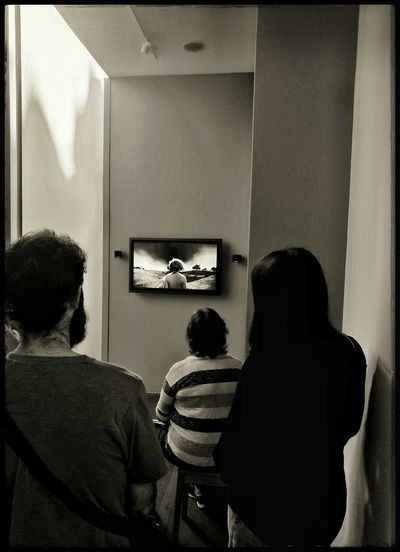 """""""watching the watcher"""" Viewers Film Anonymity Monochrome Back Of Heads No Identifiable People Installation Gallery Big Brother Orwellian Mystery Unease Sinister Watching"""
