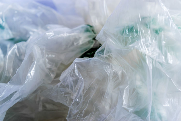 Full frame shot of crumpled plastic bags