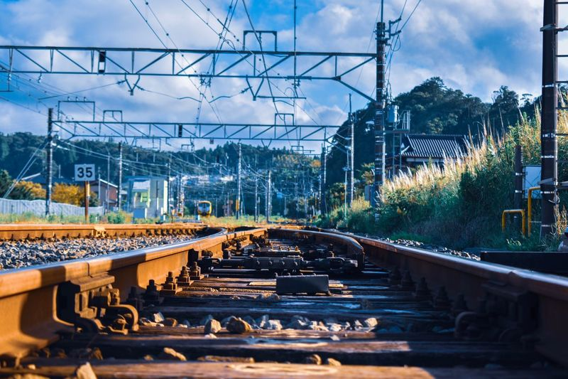 Track Rail Transportation Railroad Track Sky Electricity  Cloud - Sky Transportation No People Day Connection Built Structure