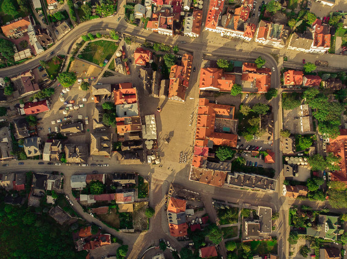 High angle view of street in city