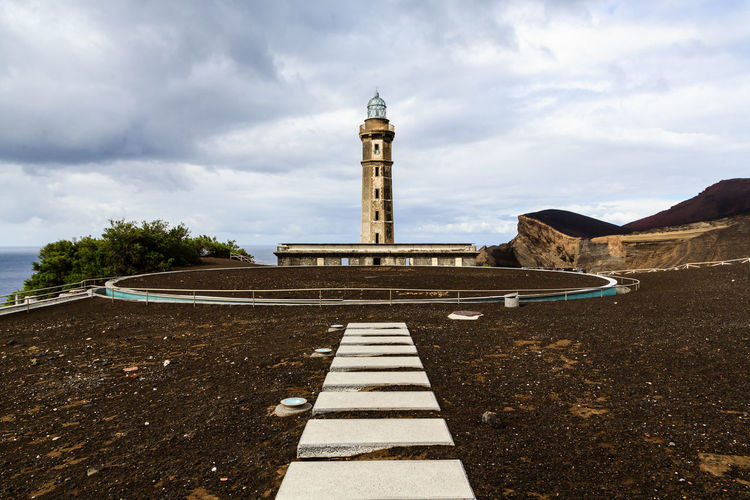 View of lighthouse against cloudy sky