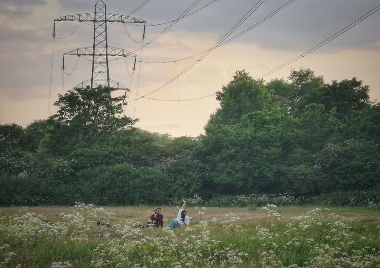 People on field by trees against sky
