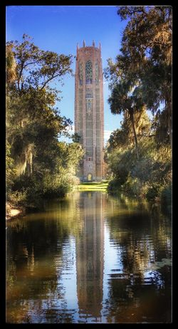 Tranquility Architecture Bok Tower Gardens Building Exterior Built Structure Carillontower Day History Nature No People Outdoors Reflection Singing Tower Sky Spirituality Travel Destinations Water