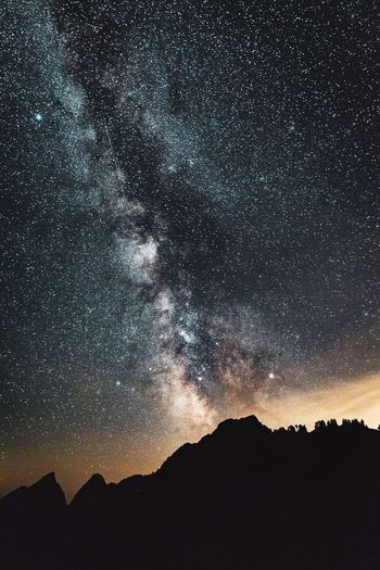 Starscape Sky Night Star - Space Beauty In Nature Scenics - Nature Tranquil Scene Silhouette Space Tranquility Mountain Astronomy Nature Star No People Galaxy Low Angle View Star Field Landscape Idyllic Environment