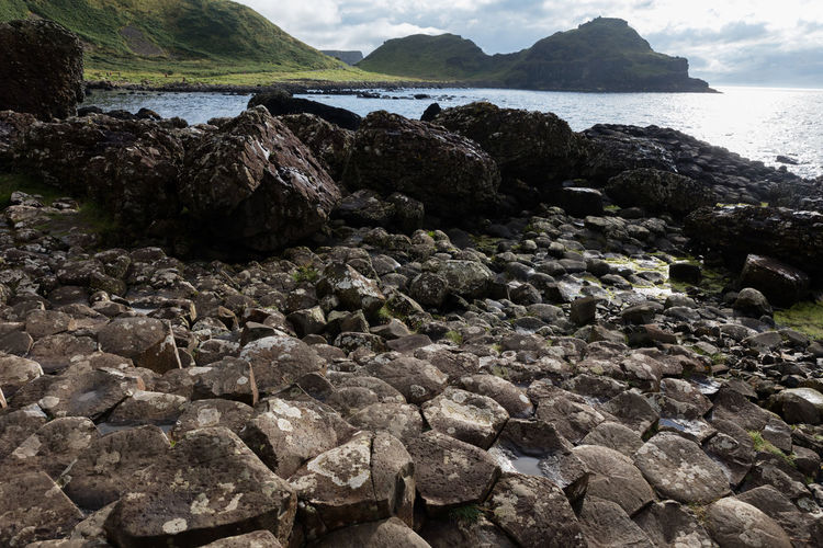 Scenic view of rocky coastline