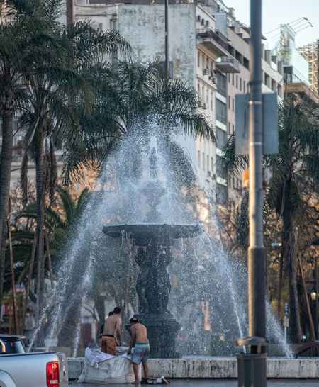 View of fountain in city