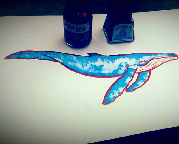 Whales are awesome ae @ilyese_court ❤💙 Whale Arts_help Arts Nature Oceanlife Liquitex Inks Copper  Blue Create Creative Creative_animalart Bluewhale Shinebright Whales Fashion Fishing Followforfollow Artistic_share