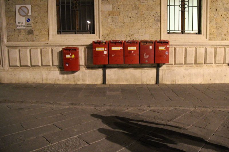 Post Box  Red In A Row No People Outdoors Architecture Day night Letterbox Shadows.