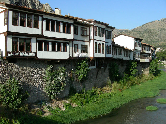 Amasya Ancient Civilization Architecture Building Exterior Built Structure City Clear Sky Day Nature No People Old House Old Town Outdoors Riverside Rock Tombs Sky Turkey