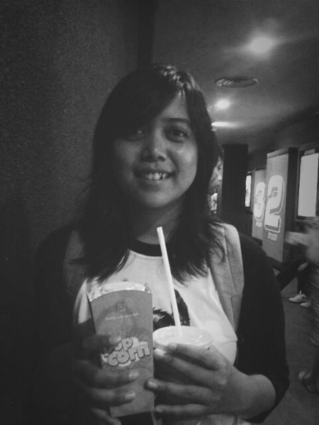 watching Captain America The Winter Soldier movie with my big sister :) Black And White