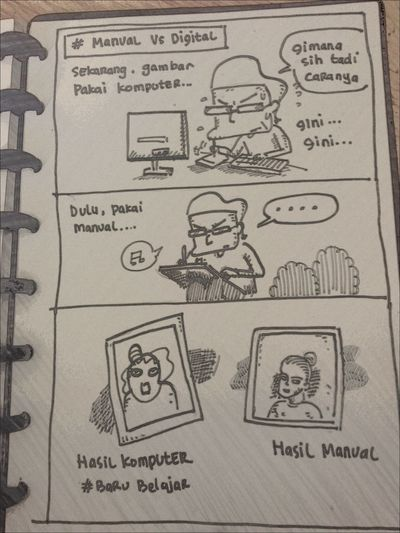 manual vs digital . Comicdaily Comics Sketching SkecthArt Sketchbook Comic Komiklokal INDONESIA Daily Life Dailysketch Karyakomi Komikinajah Strip Comicstrip Comic Style Comical