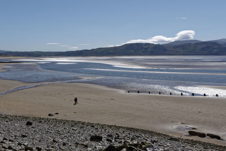 Beach Beauty In Nature Conwy Estuary Landscape Llandudno Mountain Mountain Range Nature North Wales Outdoors Sand Scenics Sea Sky Tranquil Scene Tranquility Two People Walking Water