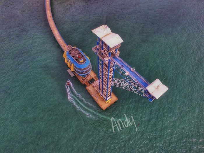 Bungee jumping in Xinghai Bay Overlook Aerial Photograph Bungee Jumping Sea Bungee Jumping In Xinghai Bay Nautical Vessel Water Sailing High Angle View