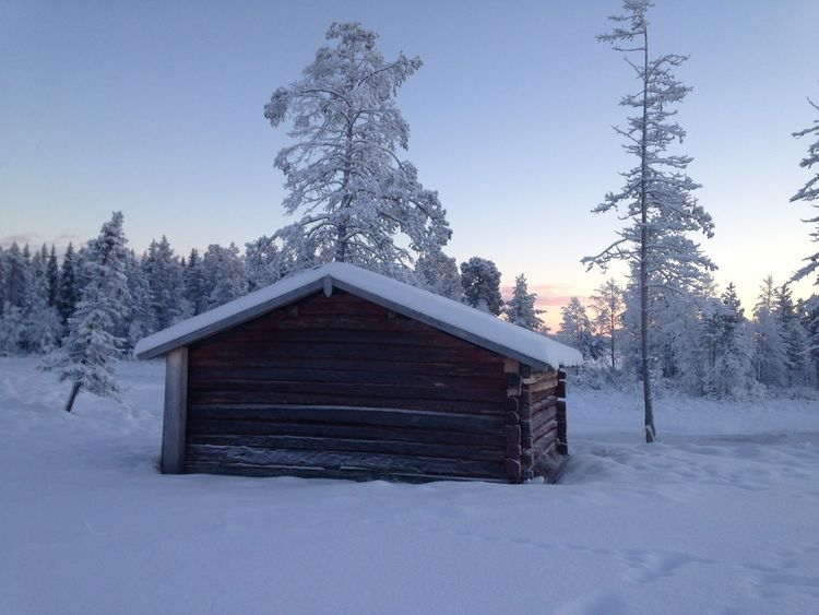 Midwinter Solstice Boathouse Swedish Lapland Winter