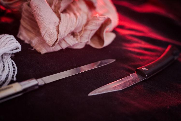 Close-up of knives