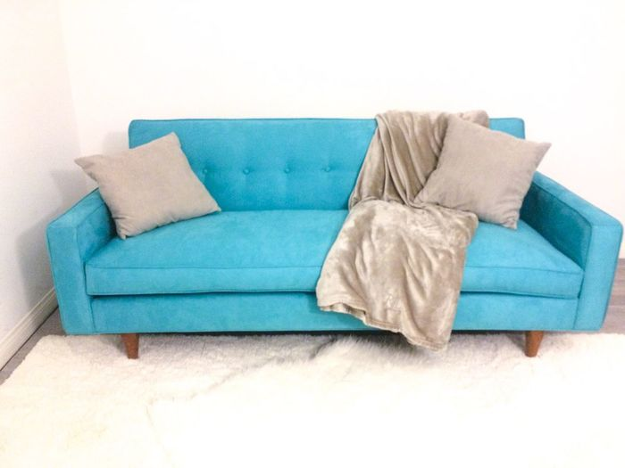 Apartment Aqua Blue Comfortable Couch Fashion Furniture Home Home Interior Indoors  Interior Design Living Room Mid Century Modern Mid-century Modern Modern Pillow Relaxation Relaxing Relaxing Shag Rug Silver  Sofa Studio Throw Pillow Tufting