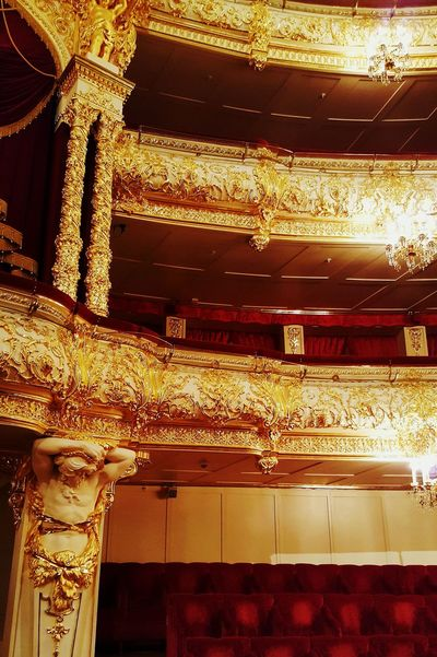 Gold Colored Gold No People Indoors  Shiny Built Structure Illuminated Architecture Seats Light Bolshoi Theatre Bolshoi Theater Theatre Moscow Russia Theater Social Life Travel Destinations Arts Culture And Entertainment Architecture Shiny Gold Indoors  Royal Box