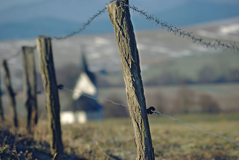 Barbed Wire Boarder Church Silhouettes Cold Temperature Countryside Day Fence Focus On Foreground Hills And Valleys Winter Season Wooden Stakes