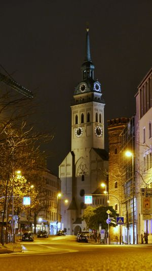 Night Illuminated Architecture Building Exterior City Travel Destinations Cityscape Outdoors Clock Sky Tree Clock Tower Christmas Lights No People Clock Face Astronomy Alter Peter Munich, Germany München EyeEmNewHere