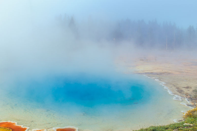 Beauty In Nature Famous Place Fog Fountain Paint Pot Area Geothermal  Hot Spring Landscape Lower Geyser Basin Morning Mist Nationalpark Non-urban Scene Outdoors Scenics Silex Spring Travel Destinations Water Wyoming Yellowstone Yellowstone National Park The Great Outdoors - 2016 EyeEm Awards