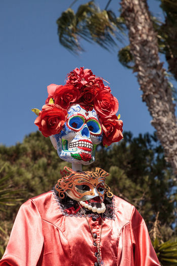 Flower and skeleton alter at Dia de los Muertos, Day of the dead. Day Of The Dead Decor Dia De Los Muertos Festive Season Halloween Holiday Macabre Skeleton All Saints Day Alter Decoration Fall Festive Flower Garden Offerings Scary Skull
