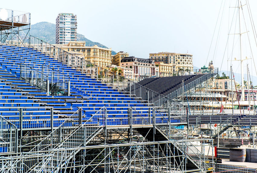 Preparation to Formula 1 Monaco Grand Prix City Construction Formula 1 Monaco Monaco Grand Prix Monte-Carlo Racing Transportation Architecture Audience Auto Built Structure Championship Competition Europe F1 Formula1 Monte Carlo Outdoors Principality Of Monaco Rally Rows Stands Tribune Urban Landscape