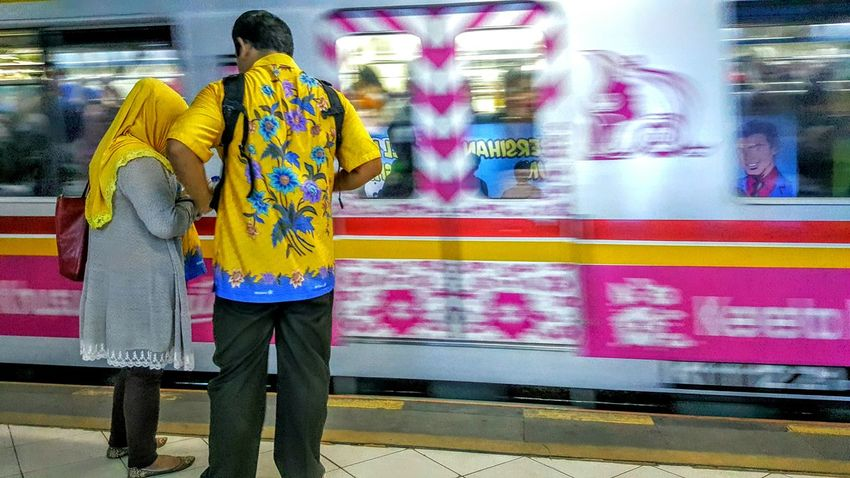 Yellow & pink   Commuter Train Departure Transportation Couple Daily Life Everyday Indonesia Mobile Photography My Commute
