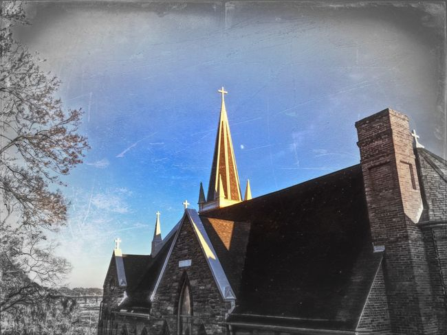 A look at the spire high atop St. Peter's Roman Catholic Church in historic Harper's Ferry. Harpersferry Church Architecture IPhoneography IPSWebsite Ips