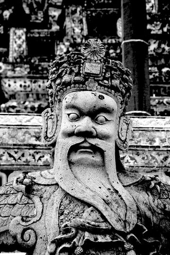 Ancient Bangkok Black And White Close-up Focus On Foreground Human Representation No People Outdoors Religion Sacred Sculpture Spirituality Statue Temple Thailand Wat Arun EyeEmNewHere Black And White Friday Inner Power The Street Photographer - 2018 EyeEm Awards The Traveler - 2018 EyeEm Awards