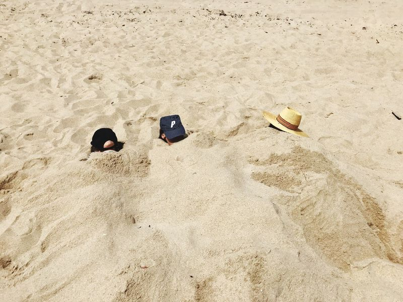 EyeEm Selects Beach Beach Life Beach Buried Sand High Angle View Day Outdoors No People Nature Kids Buried In Sand