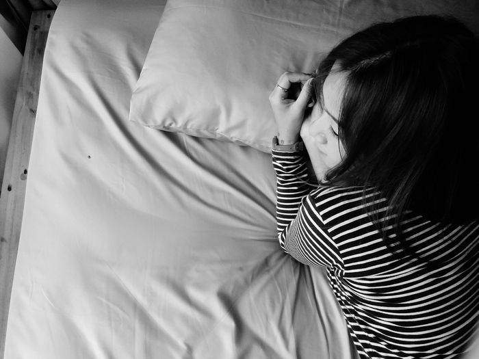 Black And White Blackandwhite Woman Asian  Girl EyeEm Selects Bedroom Women Young Women Bed Rear View Black Hair Close-up Pillow Tangled Hair Hairy  Sleeping Home Sweet Home Body Adornment Bedtime Lying On Side Human Back Napping Double Bed Striped
