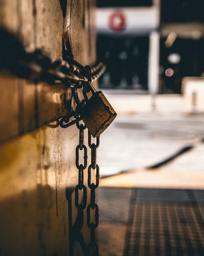 Close-up of padlocks on chain