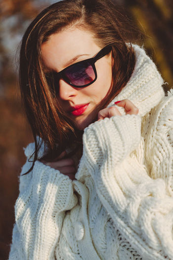 One Person Clothing Warm Clothing Portrait Women Winter Young Adult Fashion Glasses Adult Headshot Sunglasses Scarf Sweater Young Women Lifestyles Beautiful Woman Mid Adult Hair Outdoors Hairstyle