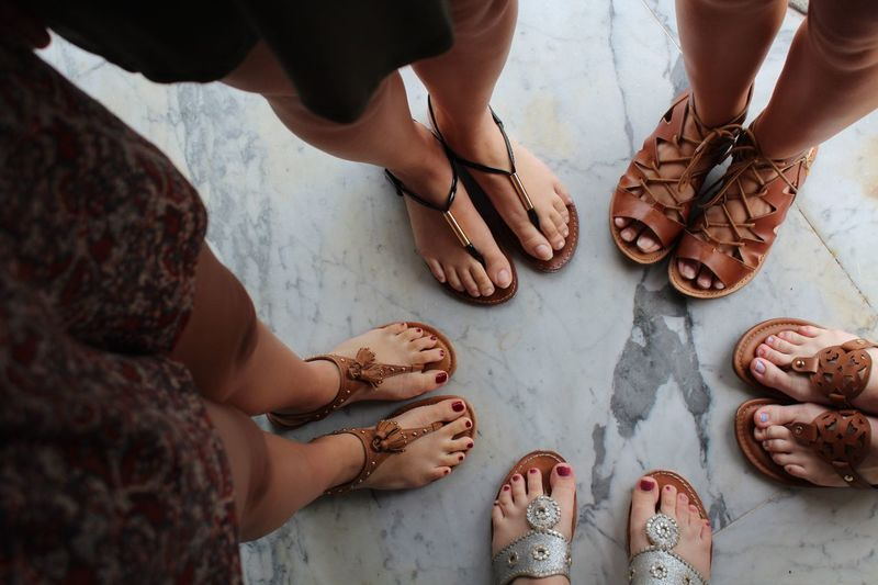 EyeEm Selects High Angle View Human Body Part Human Leg Togetherness Sandal Low Section Women Friendship Indoors  Standing Lifestyles Adult Feet Shoes
