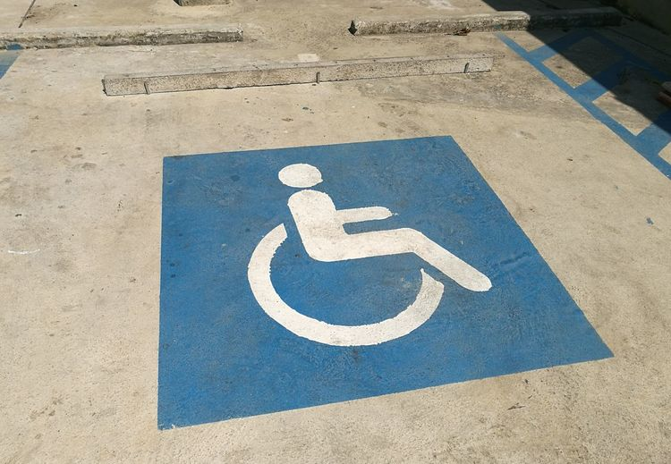 High Angle View Of Wheelchair Sign