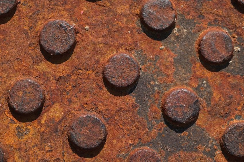 Abstract Backgrounds Bolt Brown Close-up Day Decline Design Deterioration Full Frame Metal No People Old Pattern Rough Run-down Rusty Shape Textured  Weathered