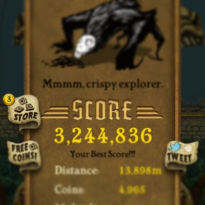 My new high score on temple run Templerun Newhighscore 3 ,244,836