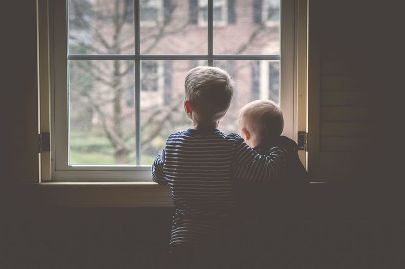 Siblings Family Children Child Childhood Kids Love Window
