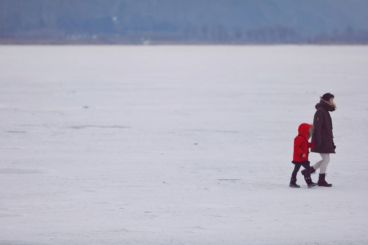 겨울, 얼어있는 강물, 엄마와 아이 . . #하루한컷 #겨울사진 #두물머리 #5DMARK4 #새아빠백통 #EF70200F28LIIISUSM Warm Clothing Snow Full Length Cold Temperature Winter Red Child Ice
